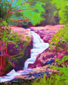 Maui Waterfall Painting - large impressionist landscape waterfall art oil painting in delicate gold frame fauve