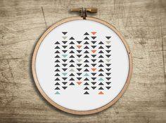 modern geometric cross stitch pattern ++ retro triangle mosaic ++ pdf INsTAnT DOwNLoAD ++ diy hipster ++ handmade design