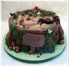 Tree Stump & Bugs Birthday Cake by Helen The Cake Lady Birthday Cake For Papa, Bug Birthday Cakes, Mermaid Birthday Cakes, Homemade Birthday Cakes, 2nd Birthday, Cakes To Make, Cakes For Boys, How To Make Cake, Tree Stump Cake
