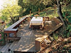 Get 40 design ideas for turning your deck or patio into an outdoor retreat—because the best vacation spot is in your own backyard (or rooftop). Hillside Deck, Hillside Landscaping, Landscaping Ideas, Outdoor Areas, Outdoor Rooms, Outdoor Living, Sloped Yard, Sloped Backyard, Steep Backyard