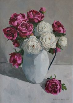 Buy Peonies in enamel jug, Oil painting by Katharine Rowe on Artfinder. Discover thousands of other original paintings, prints, sculptures and photography from independent artists.