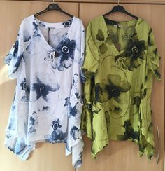 "Ladies Quirky Plus Size LINEN V-Neck Lagenlook Floral Print Pocket Top Tunic 52"" #Colorine #OtherTops #CasualSummerHoliday"
