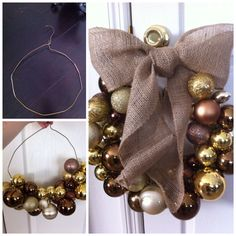 DIY Christmas wreath with wire hanger. No glue needed! Just slide the ornaments onto the hanger until its full. I added a burlap bow to the top.