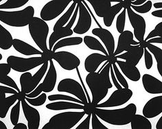 Twirl Black and White Modern Floral Tailored Valance - FINAL SALE