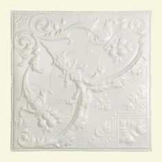 Great Lakes Tin Saginaw 2 ft. x 2 ft. Nail-up Tin Ceiling Tile in Gloss White-T53-00 - The Home Depot