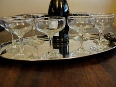 8 Champagne Coupe Glasses