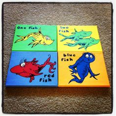 Dr Seuss hand painted canvases, pictures nurseries Hand painted canvases One Fish Two Fish Red Fish Blue Fish Dr. Seuss. Would be great in a bathroom, kids room or nursery. Many themes available www.etsy.com/shop/spoonfuloffreckles