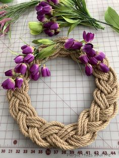 I love the look of anything braided! It's such a simple way to create interesting patterns. Imagine making a wreath out of braided rope!So I created a braided rope wreath anyone would have fun making! And the best part, it can be made in less than an hour, including adding embellishments to suit the season or occasion! It's the perfect way to impress anyone who sees it, too! Instructions:First, decide how large you want the wreath to be. I decided on 15 inches wide - which happ… Wreath Crafts, Diy Wreath, Diy Crafts, Wreath Making, Wreath Ideas, Jute Crafts, Fabric Crafts, Diy Spring Wreath, Spring Crafts