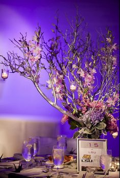 Silver branch centerpiece- don't necessary like these colors