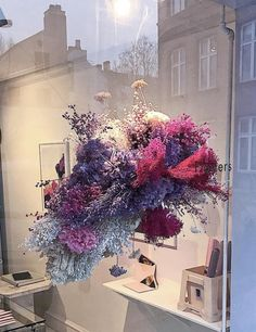 """I like the organic shape and coloration of this """"cloud"""" Flower Decorations, Wedding Decorations, Floral Wedding, Wedding Flowers, Flower Installation, Deco Addict, Floral Chandelier, Arte Floral, Home And Deco"""