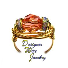DWJ0617 Stunning Genuine Swarovski Faceted Crystal Rose Pink Gold Wire Wrap Ring All Sizes
