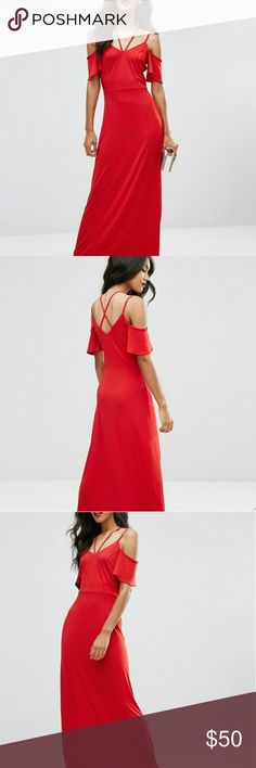 NWT ASOS | Maxi Dress Cold shoulder? Check. Sexy straps? Check. Comfortable yet on fleek? Check! This gorgeous maxi will catch eyes everywhere!  * Brand new with tags   Reasonable offers always considered. Over 175 items listed so bundle to save more! ASOS Dresses Maxi