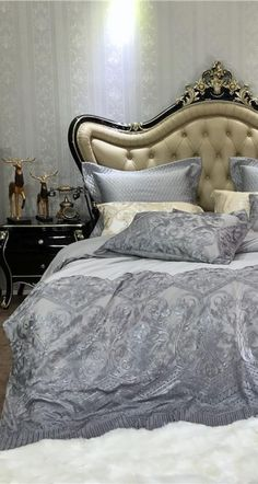 Create a Luxurious Sleeping Experience with the help of this amazing Luxury Lace Bedding Set in Grey Color. This amazing bedding set is specially made with High Thread Count Egyptian Cotton fabric to create a more comforting sleeping environment that is more breathable as well. Skin Soothing Softer touch bedding set that keeps you comfortable at night and improve your sleep hygiene. #bedding #duvet #luxurybedding #luxurybed #luxuryroom #luxuryduvet #masterbedroom