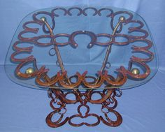 Horseshoe & harness table decor, coffee tables, glasses, horseshoe art, horsesho art, bedrooms, furniture, patio tables, coffe tabl