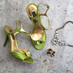 "Selling this ""Vince Camuto Green Satin Jewel Heels"" in my Poshmark closet! My username is: willbakeforshoe."