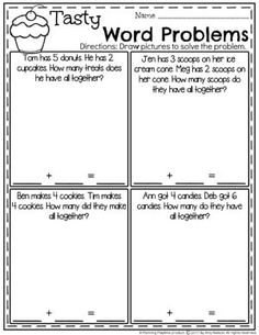 Addition Worksheets - Planning Playtime Sweet Treats Addition Word Problems for Kindergarten. Kindergarten Addition Worksheets, 2nd Grade Math Worksheets, In Kindergarten, Word Problems 3rd Grade, Fraction Word Problems, Math Problems For Kids, Addition Words, Math Addition, Math Words