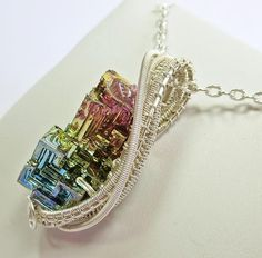 Wire Wrapped Jewelry - Woven Bismuth Crystal Necklace In Silver - by Heather Jordan Wire Pendant, Wire Wrapped Pendant, Wire Wrapped Jewelry, Wire Jewelry, Jewelry Crafts, Gemstone Jewelry, Handmade Jewelry, Jewelery, Shell Jewelry