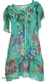 Darling emerald Ladies vintage inspired long shirt with lots of flowing layers.  Emmalyn Tunic In Green