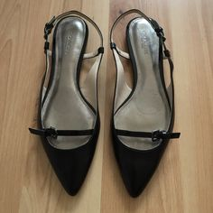 Coach Slingback Flats NWT Brand new never worn. These beauties feature pointed closed toe flat design that is stylish and easy to wear. I have 2 pairs available. Coach Shoes Sandals