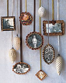 I love having family pictures especially vintage ones on the Christmas tree and around the house. This is wonderful to use pinecones for frames.