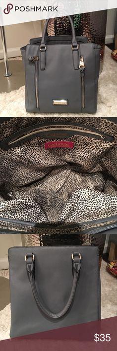 CATHERINE MALANDRINO grey tote Gorgeous! Professional and fun. Fun leopard print lining!! Catherine Malandrino Bags