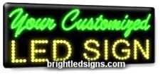"Custom LED Sign - 1 or 2 Line. $179.99 + $ 7 per letter.   11""H x 27""W"
