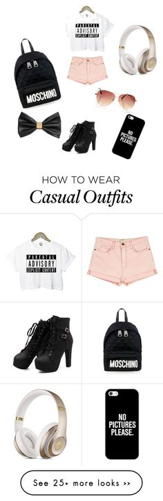 """Casual"" by renatafreire45308 on Polyvore featuring Current/Elliott, Moschino, Beats by Dr. Dre, H&M and Casetify"