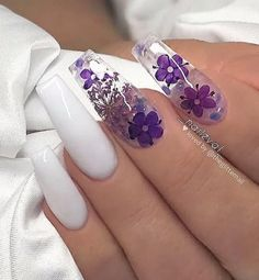 Chic Natural Gel Nails Design Ideas For Coffin Nails - white Gel coffin nails long, natural gel nails design, gel nai Purple Acrylic Nails, Summer Acrylic Nails, Best Acrylic Nails, Purple Nails, White Nails, Acrylic Nail Designs For Summer, White Summer Nails, Purple Nail Designs, Blue Nail