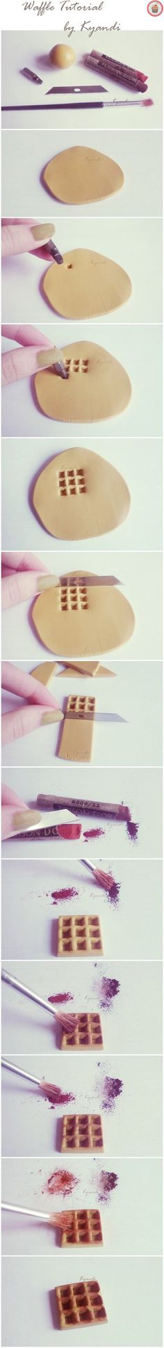 Polymer clay waffle tutorial by ~Kyandi-charms on deviantART