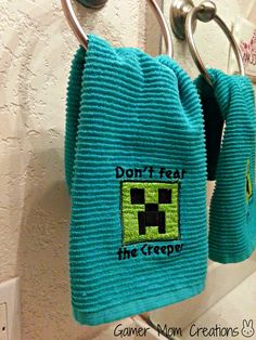 TWO Minecraft inspired, Creeper Bathroom or Kitchen Towels. $14.20, via Etsy.