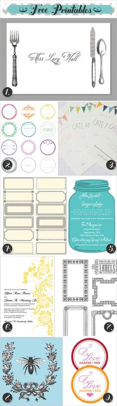Free Printable Invitations, labels, placemats and more!
