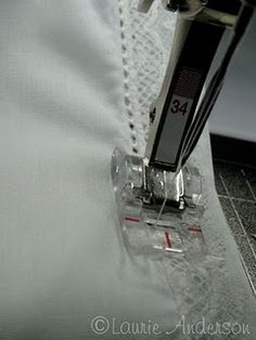 SewNso's Sewing Journal: {Applying Lace & Pin stitching} a very nice finish on the lace. Sewing Tutorials, Sewing Crafts, Sewing Projects, Sewing Tips, Sewing Ideas, Dress Tutorials, Techniques Couture, Sewing Techniques, Sewing Lace
