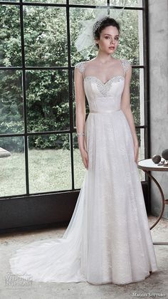MAGGIE SOTTERO #bridal fall 2015 #wedding dresses beautiful a line gown sweetheart neckline satin belt alanis