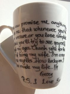 Mug medium with quotes from PS I Love You by litsakiv on Etsy, $18.00