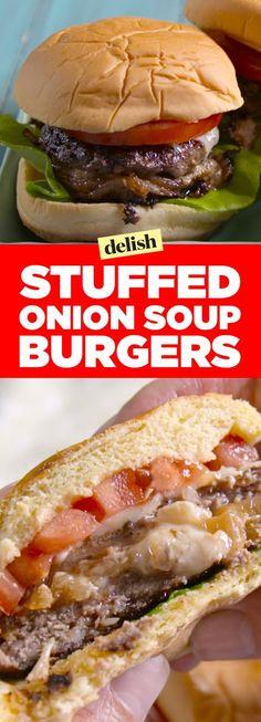 Stuffed Onion Soup Burgers on Martin's Sandwich Potato Rolls! My Burger, Beef Burgers, Veggie Burgers, Sliders Burger, Real Burger, Burger Stand, Gourmet Burgers, Grilling Recipes, Beef Recipes