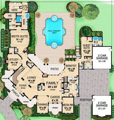 French Country Style House Plans - 7576 Square Foot Home , 2 Story, 4 Bedroom and 4 Bath, 4 Garage Stalls by Monster House Plans - Plan Luxury Floor Plans, Luxury House Plans, Dream House Plans, Modern House Plans, House Floor Plans, Luxury Houses, Hotel Floor Plan, Country Style House Plans, Country Style Homes