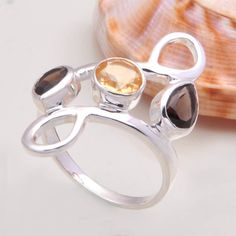 925 STERLING SILVER AMAZING SMOKEY & CITRINE RING 4.66g DJR7251 SZ-8 #Handmade #Ring