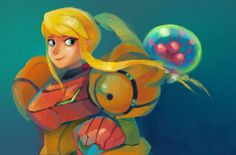 Samus Aran // Samus and baby Metroid by zgul-osr1113