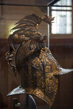 Renaissance helm at the Musée de l'Armée in Paris, France. Warrior Helmet, Helmet Armor, Suit Of Armor, Arm Armor, Body Armor, Samurai Helmet, Ancient Armor, Medieval Armor, Medieval Fantasy