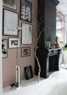 Stunning dark rooms: pink walls and black fire place | 10 Beautiful Rooms - Mad About The House