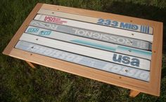 Skis recyclés en table #ski #snow #recyclé #recyclage #recycled #recycling…