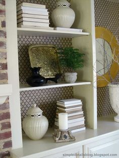 Simple Details: use wrapping paper at the back of shelves instead of wallpaper. Shelf Makeover, Bookcase Makeover, Bookshelf Styling, Rustic Bookcase, Bookcase Shelves, Shelving, Bookcases, Fabric Bookshelf, Do It Yourself Design