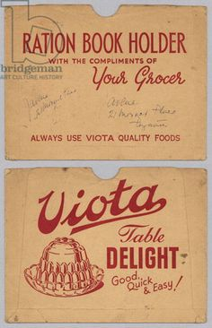 Ration book envelope advertising 'Viota' Table Delight, 1940-45 (recto and verso) (colour litho)