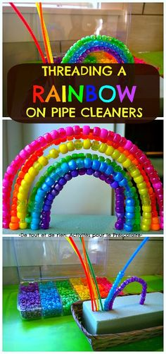 Threading a rainbow on pipe cleaners. Color matching, fine motor skills and eye hand coordination all in one activity! Threading a rainbow on pipe cleaners. Color matching, fine motor skills and eye hand coordination all in one activity! Dementia Activities, Motor Activities, Toddler Activities, Learning Activities, Preschool Activities, Colour Activities Preschool, Activities For Elderly, Rainbow Activities, Pipe Cleaner Crafts