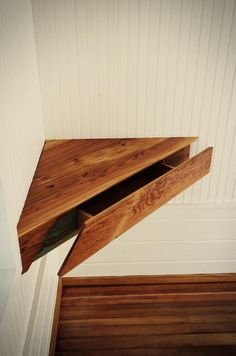 A clever corner shelf with a drawer... the drawer seems rectangular and about twice as wide as deep...   -  To connect with us, and our community of people from Australia and around the world, learning how to live large in small places, visit us at www.Facebook.com/TinyHousesAustralia