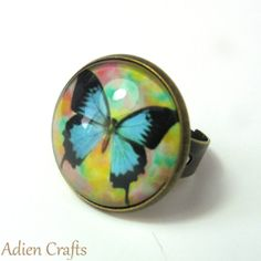 Blue Butterfly Fashion Ring Retro Fashion Gift by adiencrafts, £5.95