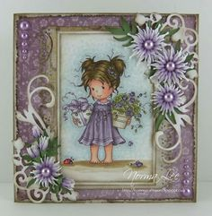A card featuring Wee Stamps 'Wee Suzi' from Magnolia-licious by Norma Lee of From My Craft Room:. / http://www.magnoliastamps.us/ / #crafts #cards