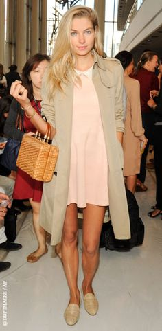 babydoll pink dress & trench coat