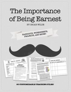 Oscar Wilde's The Importance of Being Earnest Activities, Handouts, and Worksheets FIVE WEEKS worth of materials