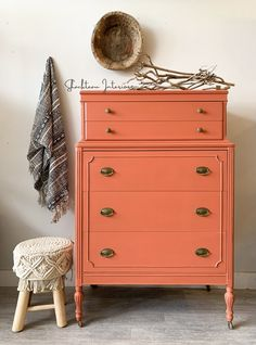 Pink Dresser, Large Dresser, Orange Painted Furniture, Papasan Chair, Vintage Dressers, Round Design, Coral, Milk Paint, My Room